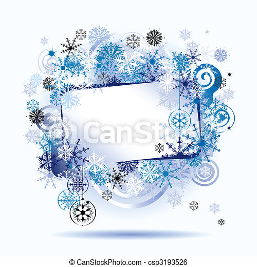 Christmas frame, snowflakes. Place for your text here. - csp3193526