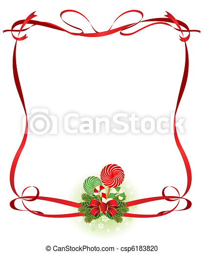 Christmas frame with candy cane - csp6183820