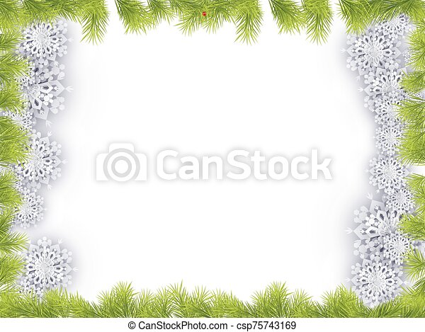 Christmas Frame with Fir Tree Branch Border - csp75743169