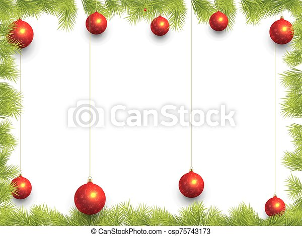 Christmas Frame with Fir Tree Branch Border - csp75743173