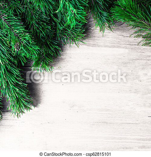 Christmas Frame With Fir Tree Branches On White Wooden Background Christmas Wallpaper Flat Lay Top View Copy Space