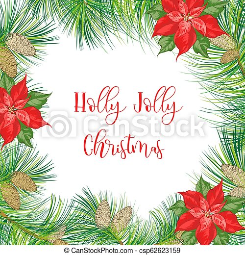 Christmas frame with pinecone isolated on white background. - csp62623159
