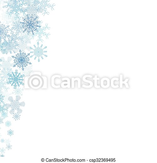 Christmas frame with small blue snowflakes - csp32369495