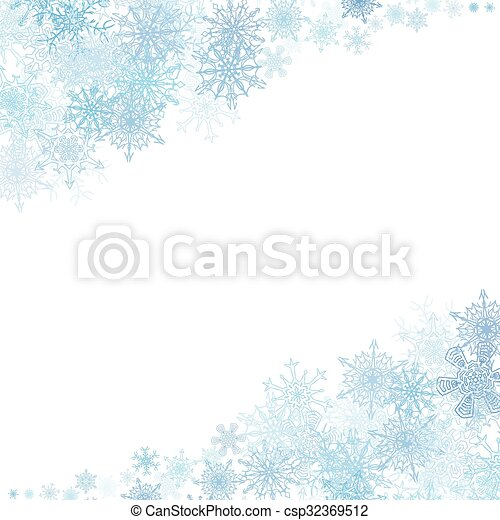Christmas frame with small blue snowflakes - csp32369512