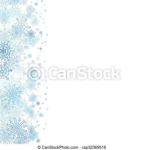 Christmas frame with small blue snowflakes - csp32369516
