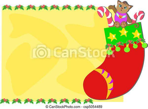 Christmas Frame With Stocking Cat Here Is A Cute Christmas Stocking