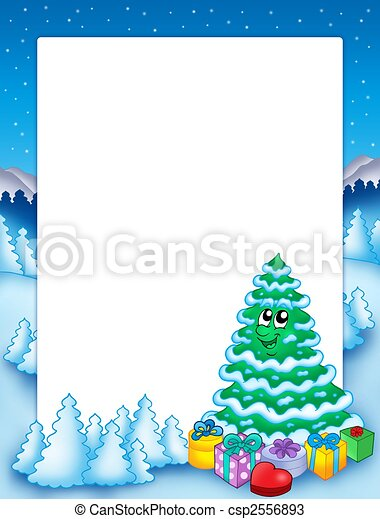 Christmas frame with tree 2 - csp2556893