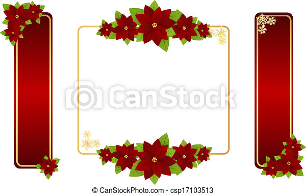 Christmas frames. Christmas red frames with poinsettia and ...