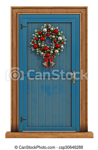 Christmas Front Door With Wreath Isolated On White 3d Rendering
