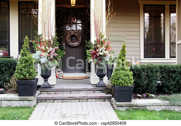 Christmas front door - csp42950409