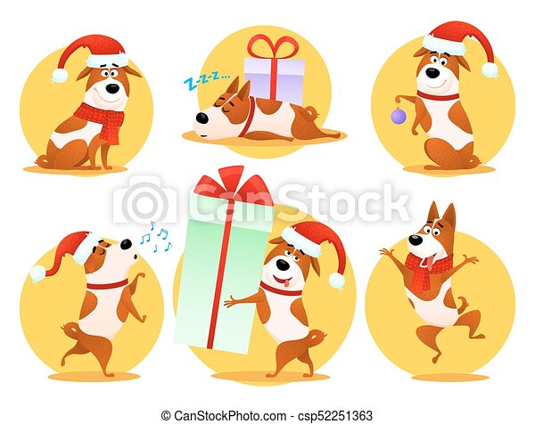 Christmas Funny Cartoon Dog Emoticons Set Xmas Flat Puppy Emoji
