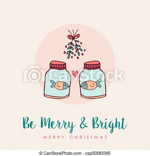 Christmas funny fish in love cartoon greeting card merry christmas christmas funny fish in love cartoon greeting card csp50583395 m4hsunfo