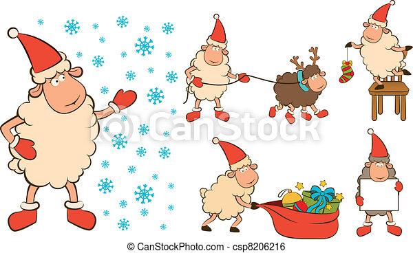 Christmas Humor Clip Art.Christmas Funny Sheep With Gifts