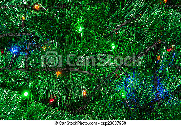 Christmas Garland Background With Colored Lights