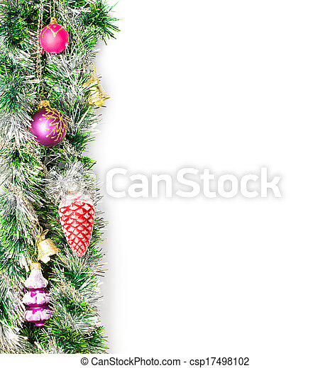 Christmas garland, border with decoration, ornament on white background