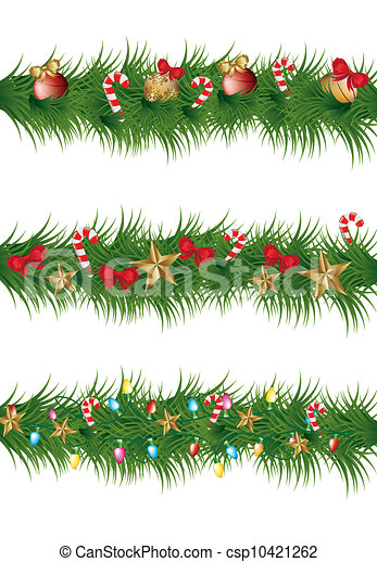 Christmas Garland With Balls Stars And Lights Vector Illustration