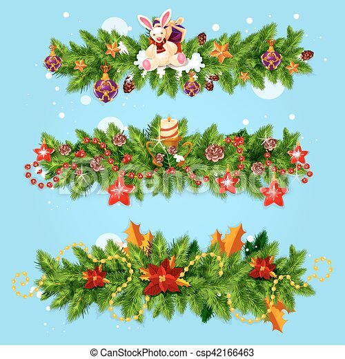 Christmas Garland For Xmas Greeting Card Design
