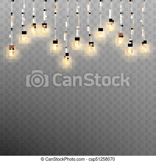 Christmas garland lights isolated on transparent background. EPS 10 vector - csp51258070