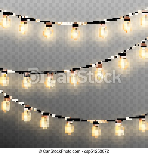 Christmas garland lights isolated on transparent background. EPS 10 vector - csp51258072
