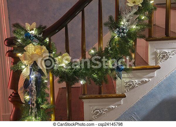 Christmas Garland On Bannister