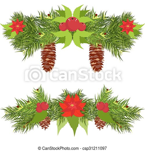 Christmas Garland Vector Christmas Garland Of Fir Branches On A