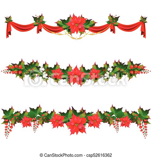 Christmas Garland With Poinsettia And Cotton Flowers Isolated On A White