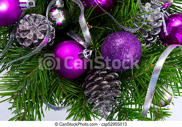 Christmas Garland With Silver Glittercones And Purple Ornaments
