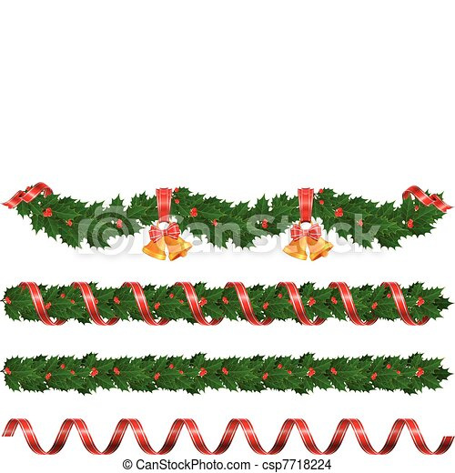 Christmas Garlands Holly Garland With Bell And Ribbon
