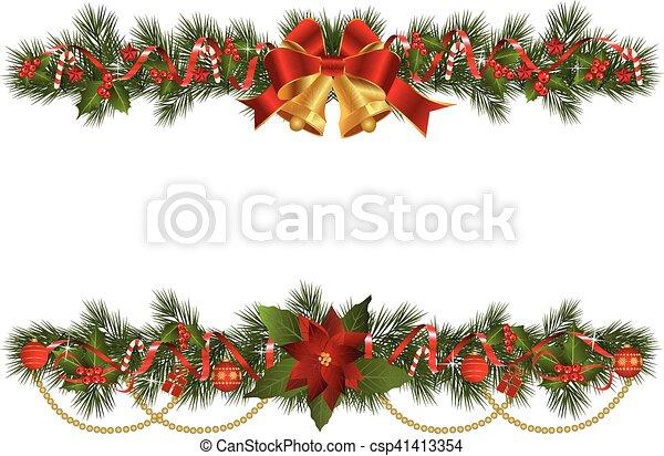 Christmas Garlands.Christmas Garlands With Fir Branches