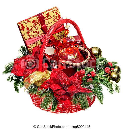 Christmas gift basket on white background christmas basket christmas gift basket on white background stock photo negle Gallery