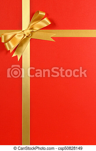 christmas gift border gold ribbon bow red background vertical csp50828149