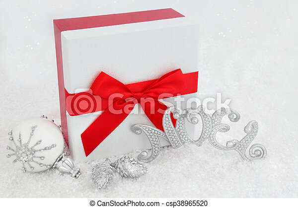 Christmas Gift Box and Decorations - csp38965520