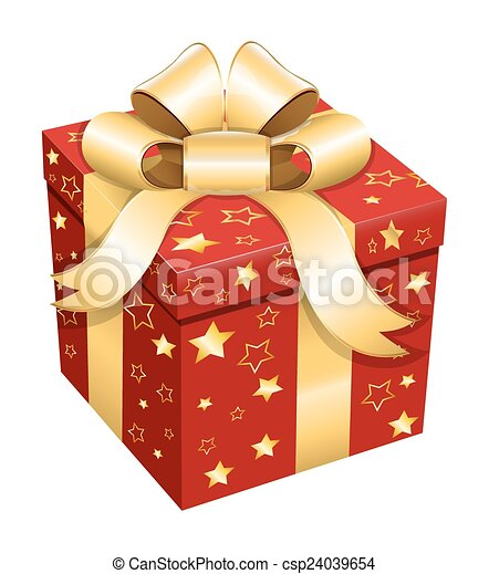 Christmas Gift Box Decorative Stars Gift Box With Golden Ribbon Bow