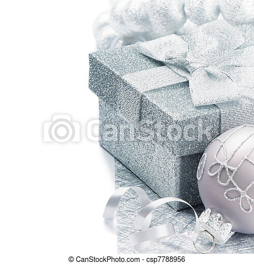 Christmas gift box in silver tone - csp7788956