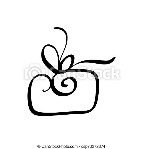 Christmas Gift Box Vector Icon Silhouette Simple Gift Contour Symbol Isolated On White Web Sign Kit Of Stylized Spruce