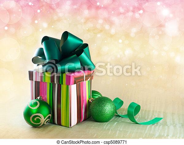 Christmas gift box with christmas balls - csp5089771
