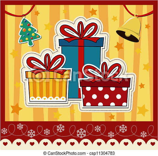 christmas gift boxes greeting card - csp11304783