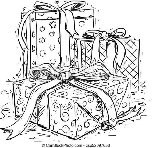 Christmas Present Drawings.Christmas Gift Boxes Hand Drawing Vector Illustration