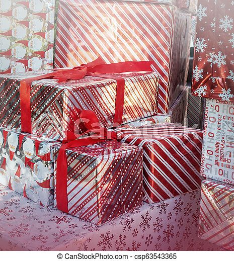 Christmas gift boxes holiday background decor - csp63543365