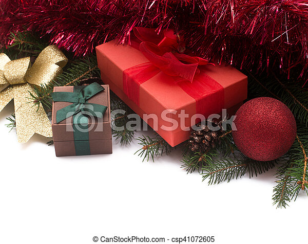 Christmas gift boxes with decorations on white background - csp41072605
