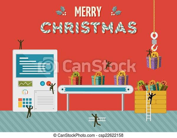 Christmas gift creative factory illustration card - csp22622158