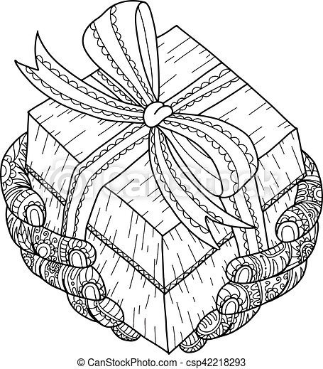Christmas Present Drawings.Christmas Gift For You Gift And Hand Zentangle By Hand Drawing
