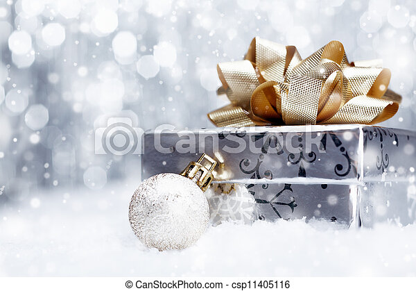 Christmas gift in falling snow - csp11405116
