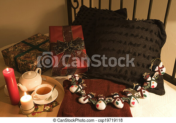 Christmas gift on bed