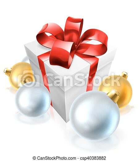 Christmas Gift or Present and Tree Baubles - csp40383882