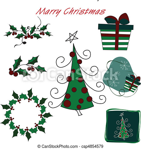 Christmas gift pack with tree - csp4854579
