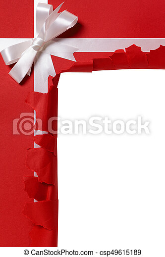 Christmas Gift Torn Open White Ribbon Bow Red Wrapping Paper Background Copy Space