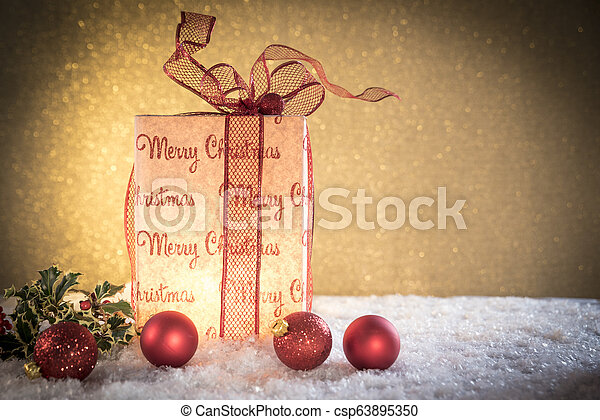 Christmas gift with decorations - csp63895350