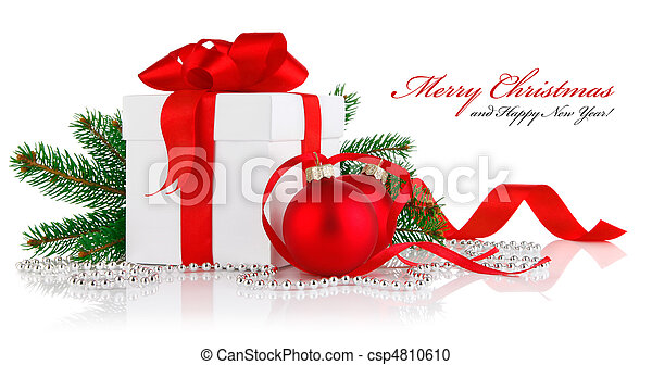 christmas gift with red balls and branch firtree - csp4810610