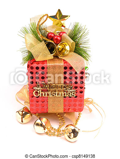 Christmas gift with white background - csp8149138